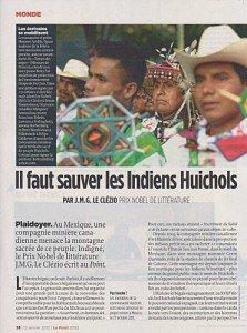 Mexique : La vallée sacrée des Huichols est en danger / J.M.G. Le Clézio écrit au Point dans Amerique latine huichols-223x300