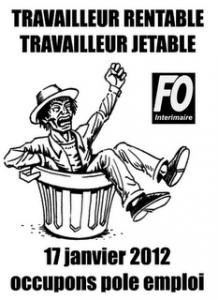 Pôle Emploi : manifestation des chômeurs, précaires et travailleurs pauvres un peu partout en France travailleur_jetable_fo-218x300