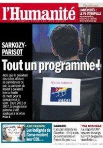 Entre Nicolas Sarkozy et le Medef, l'amour dure toujours dans POLITIQUE 2012-02-14une-huma-209x300