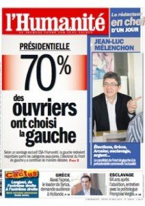 Jean-Luc Mélenchon rédacteur en chef de l'Humanité dans Front de Gauche une_melenchon-212x300