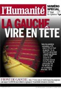 Dans l'Humanité, ce lundi, la gauche prend une longueur d'avance dans France 2012-06-10une-hq-205x300