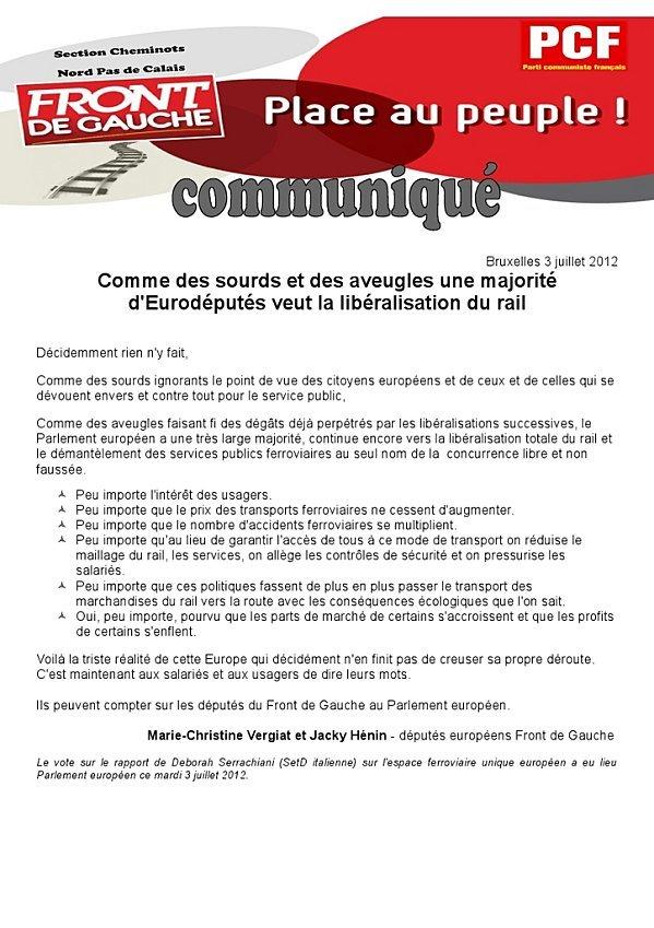 Libéralisation du rail : les députés européens Front de Gauche soutiennent les cheminots  dans Front de Gauche Communique-FDG-cheminots