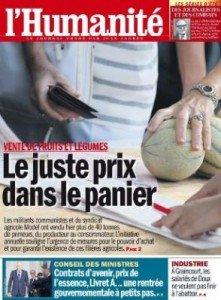 Ce jeudi dans l'Humanité : le juste prix dans le panier dans France hq23_0-221x300