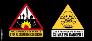 Gaz de schiste : « une exploitation impensable, une exploration à stopper ! » dans Environnement gaz-de-schistes-les-2-autocollants-300x136