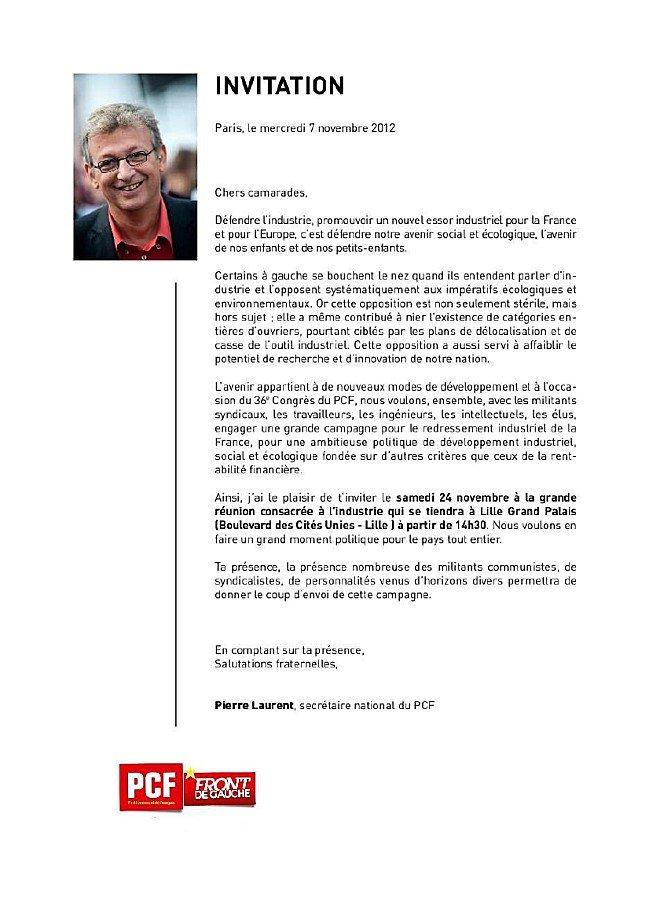 Pierre Laurent à Lille le 24 novembre : invitation dans PCF laulille