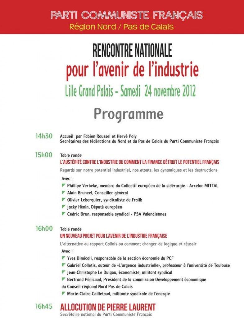 Pour l'avenir de notre industrie : 24 novembre à Lille - Rencontre nationale dans INFOS lille2411