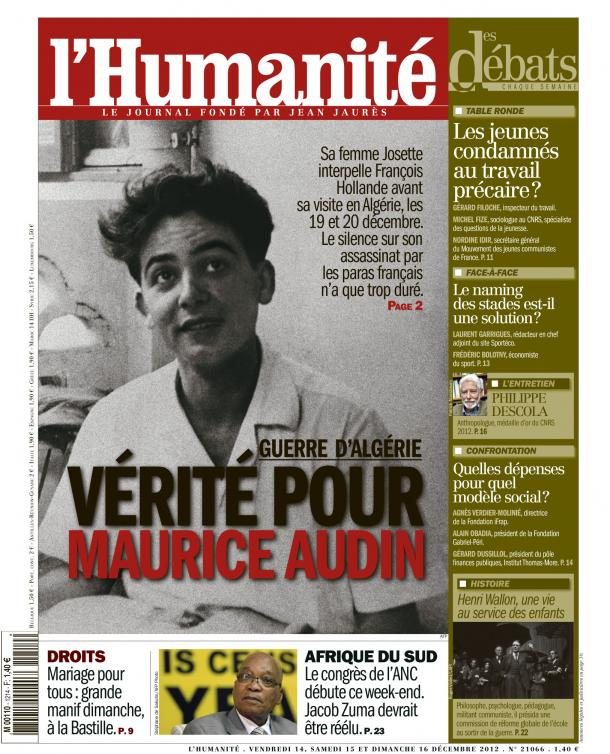 Pour Josette Audin, la veuve de Maurice Audin  :