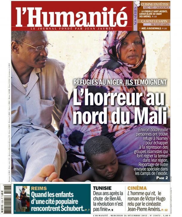 Dans l'Huma d'aujourd'hui : le douloureux exode des Maliens vers le Niger dans AFRIQUE huma2612