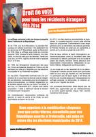 Pour le droit de vote de tous les résidents étrangers dès 2014 (pétition) dans France votetranger