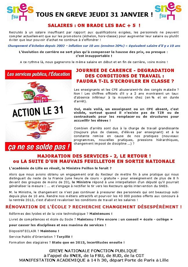 Fonction publique : Grève et manifestation le 31 janvier dans Austerite greve3101