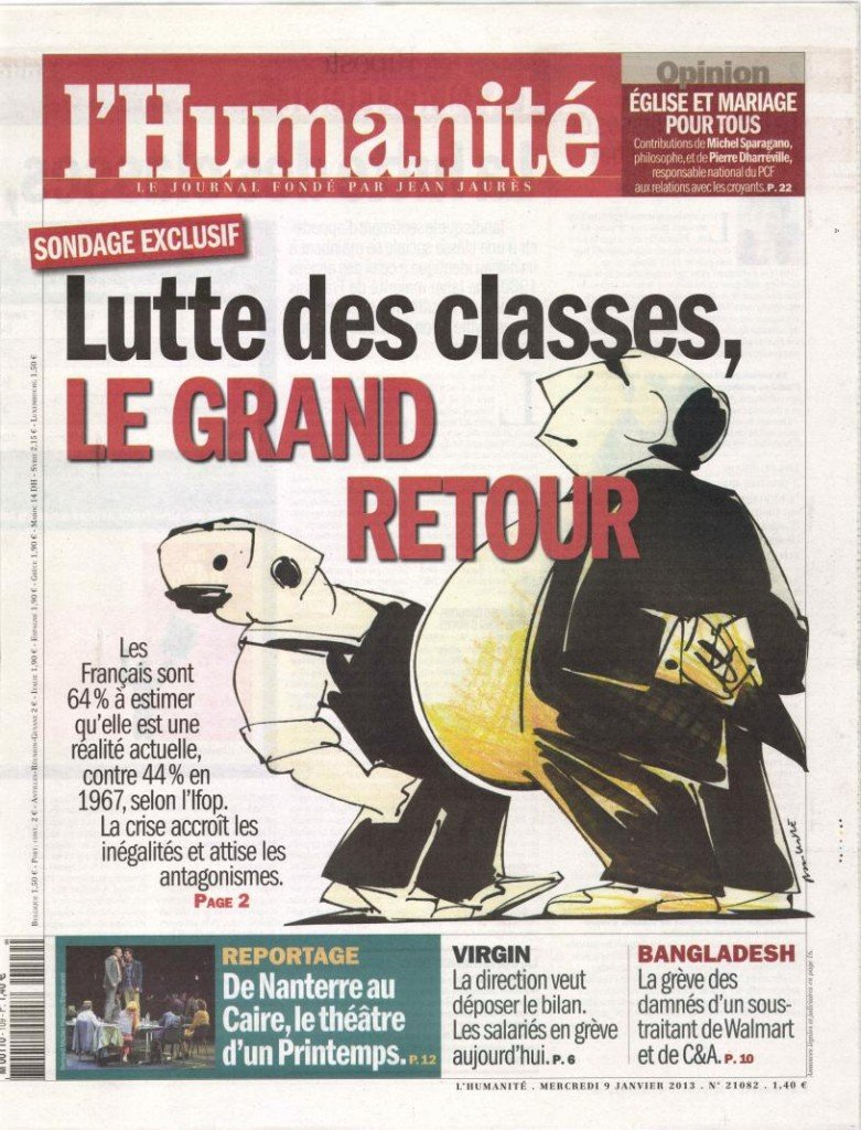 La lutte des classes, une réalité bien vivante dans France huma0913