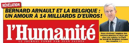 Évasion fiscale de Bernard Arnault : silence sur les révélations de l'Humanité dans Fraude fiscale huma1