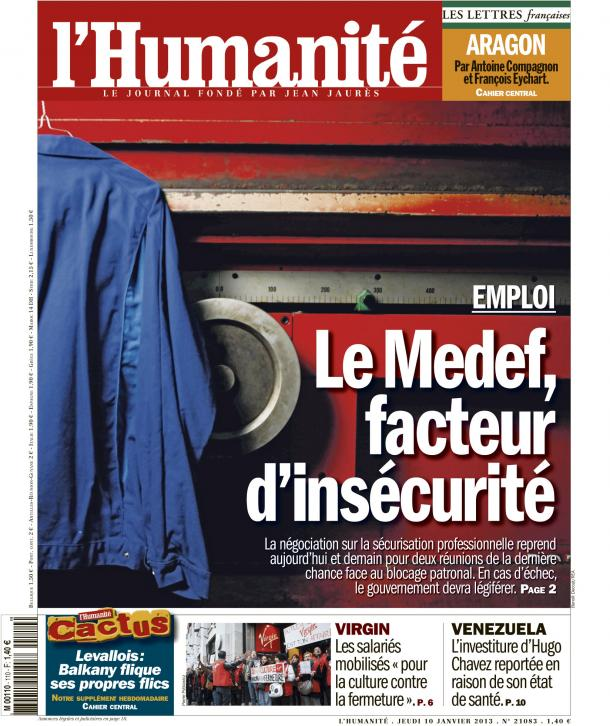 Dans l'Huma d'aujourd'hui : Le Medef inflexible sur la sécurisation de l'emploi dans CFDT huma1013