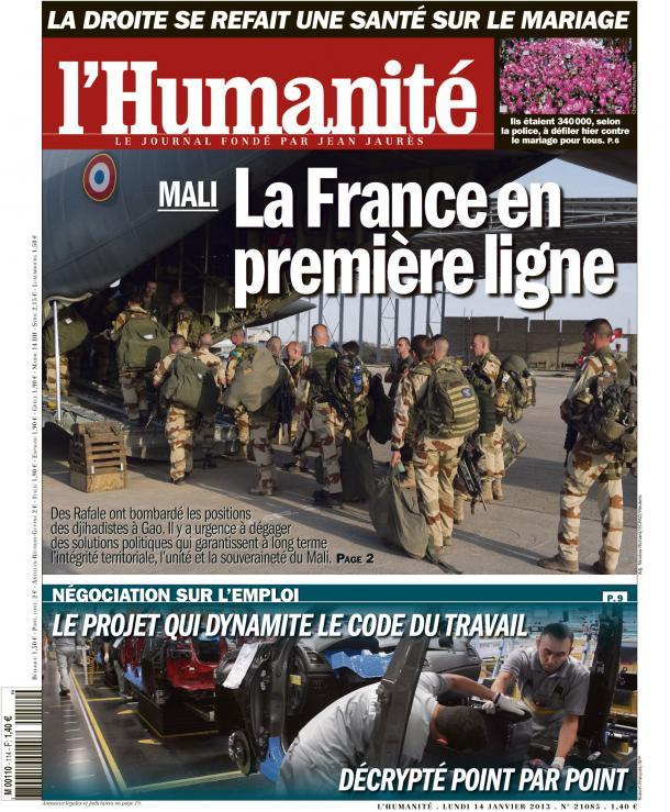 Mali : Les forces françaises en première ligne dans AFRIQUE huma1401