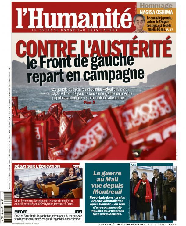 Dans l'Huma d'aujourd'hui : Le Front de Gauche lance sa campagne nationale contre l'austérité dans Austerite huma1601
