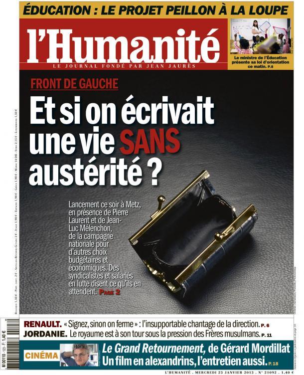 Front de Gauche : Lancement de la campagne contre l'austérité dans Austerite huma2301