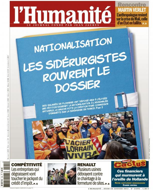 Dans l'Huma d'aujourd'hui : NATIONALISATION : Les sidérurgistes rouvrent le dossier dans ECONOMIE huma24011
