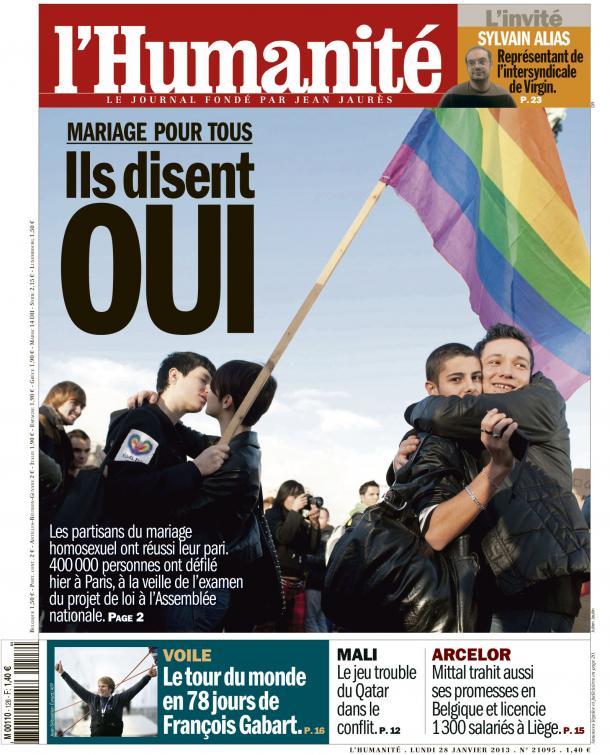 Les partisans du mariage gay attendent la loi d'égalité dans l'Humanité huma2801