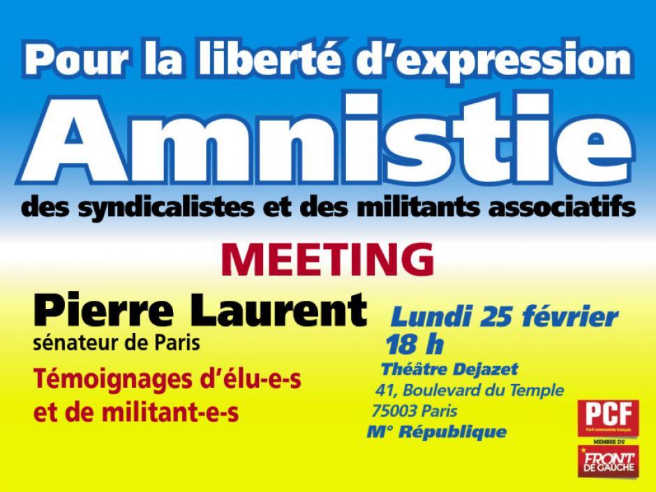Amnistie des syndicalistes : toutes les organisations du Front de gauche manifesteront mercredi devant le Sénat  dans F. Hollande amnistie