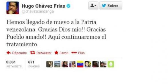 Hugo Chavez annonce qu'il est rentré au Venezuela sur Twitter dans Venezuela chaveztwitt
