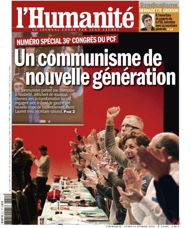 Congrès de PCF : Une direction rassemblée et ambitieuse dans France huma1102