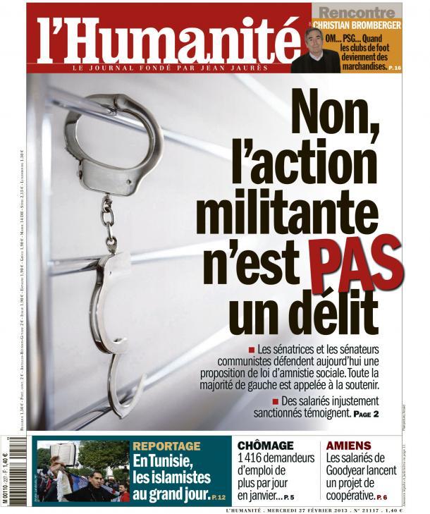 Sénat :  Les sénateurs communistes soutiennent une proposition de loi d'amnistie sociale dans France huma2702