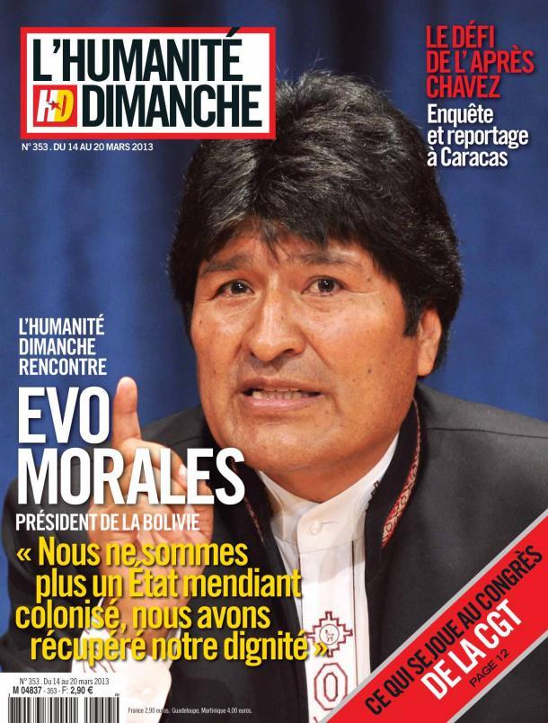 L'Humanité Dimanche : Entretien exclusif avec Evo Morales dans Bolivie hd1403