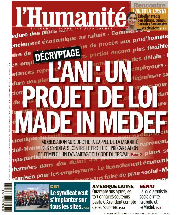 L'ANI : un projet de loi made in Medef dans André Chassaigne huma0503
