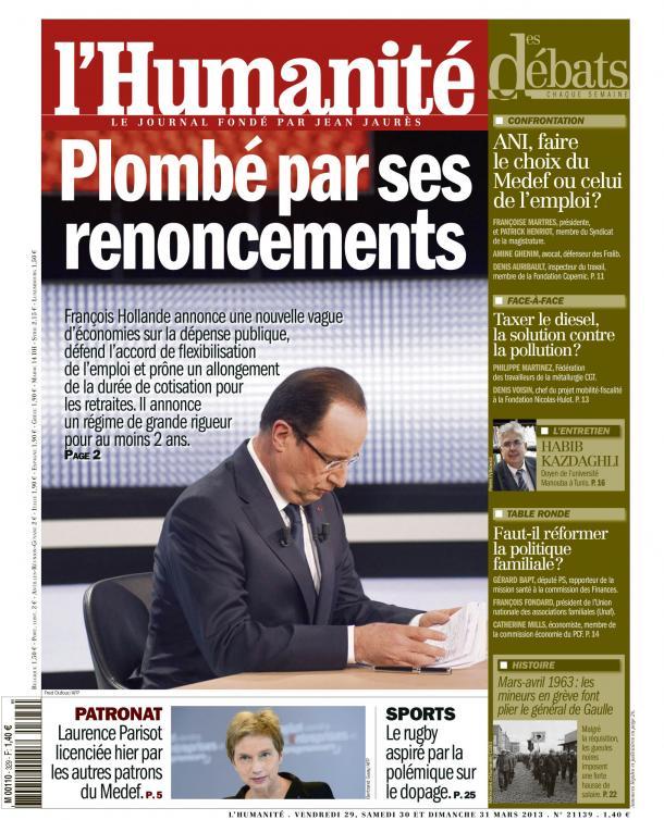Les renoncements de François Hollande dans Austerite huma2903