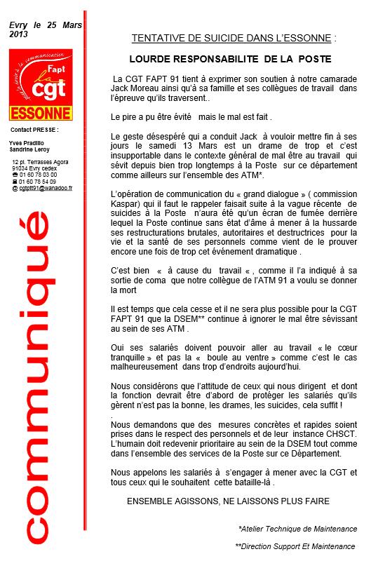 Communiqué de presse de la FAPT CGT 91, concernant une tentative de suicide dans l'Essonne. dans CGT suicidelaposte