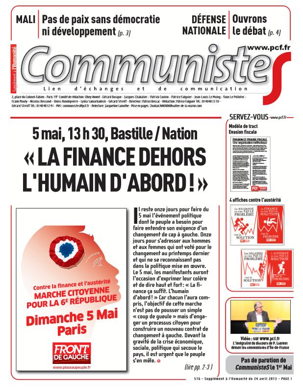 Journal CommunisteS n°516 - 24 avril 2013 dans PCF communistes2404