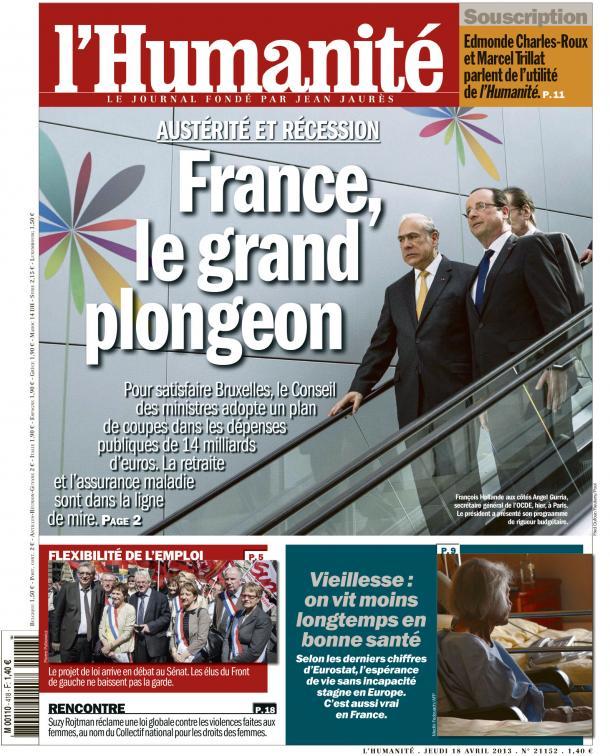 Dans l'Huma d'aujourd'hui : La France entre récession et austérité dans Austerite huma1804