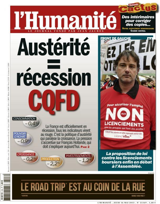 la récession fille de l'austérité dans Austerite huma1605