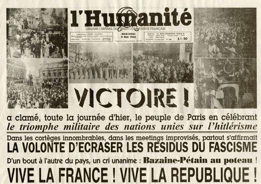 La Une de l'Huma du 9 mai 1945 dans HISTOIRE humanite-08-05-45