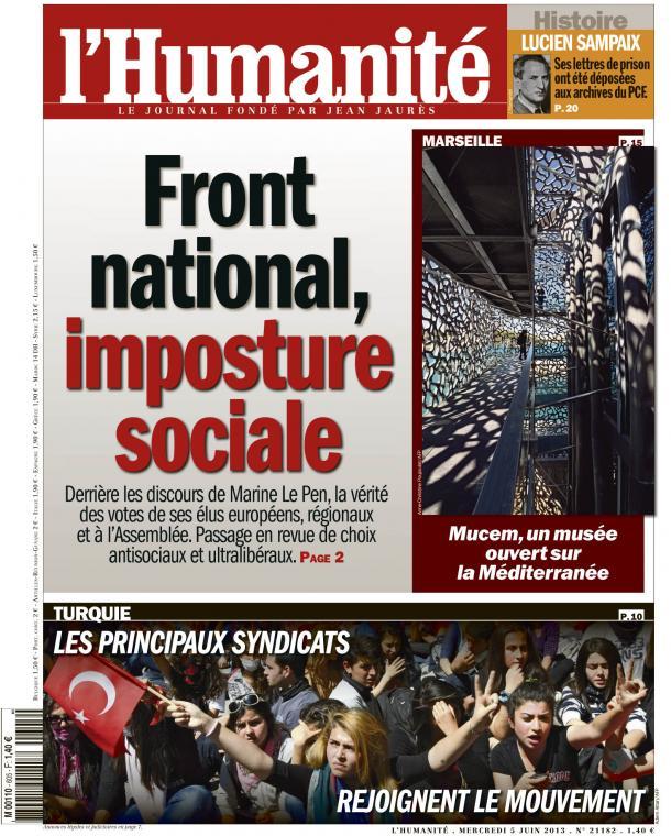 Demain, dans l'Huma : l'imposture sociale du Front national dans Assemblee nationale huma0506
