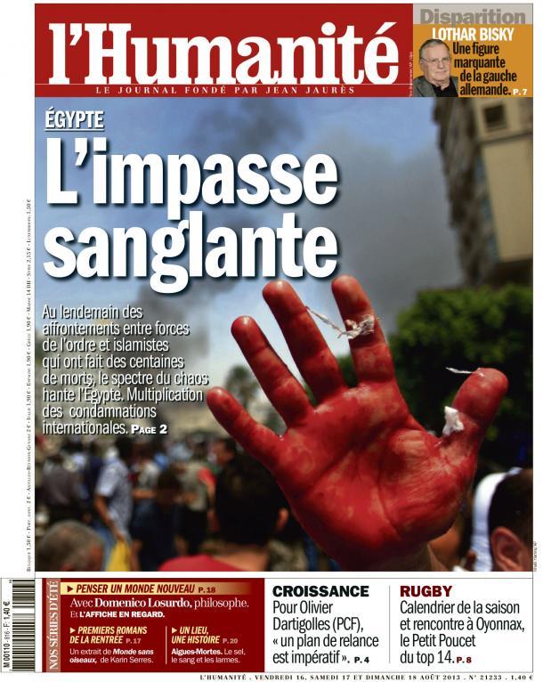 A la Une de l'Huma : Égypte, l'impasse sanglante dans l'Humanité huma1608
