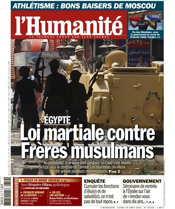 A la Une de l'Huma : Égypte, loi martiale contre Frères musulmans dans Egypte huma1908