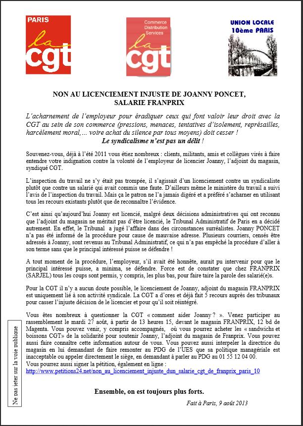 Pétition : Non au licenciement injuste de Joanny Poncet, salarié de Franprix dans CGT poncet