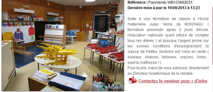 À vendre : salle de classe avec mobilier pour cause de fermeture dans Education nationale captureventesalledeclasse