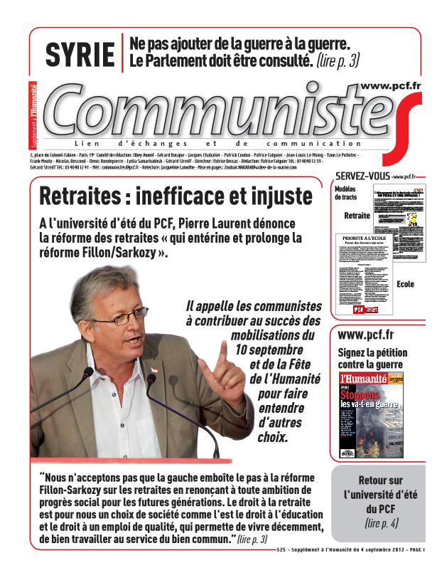 Journal CommunisteS n°525 - 4 septembre 2013   dans l'Humanité communistes0409
