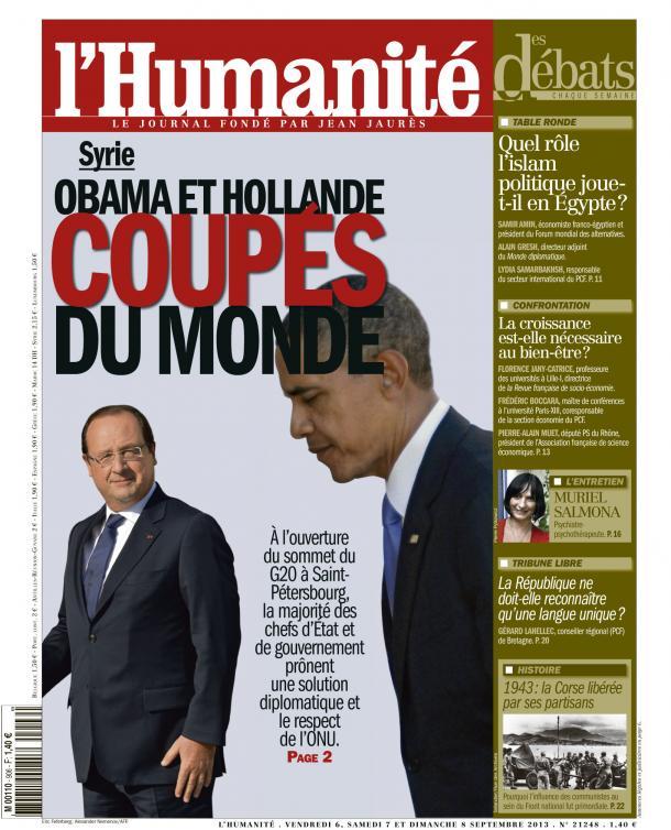 Hollande et Obama seuls face à tous dans ETATS-UNIS huma0609