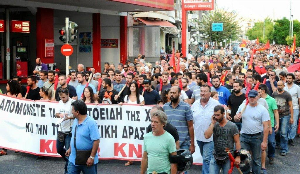 Grèce : Attaque brutale des fascistes de l'Aube dorée contre des militants communistes : la réponse massive du KKE dans Grece manifkke1