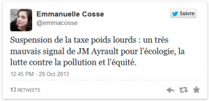 Suspension de l'écotaxe dans ECONOMIE capturecosse-300x145