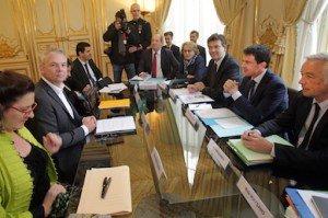RENCONTRE T. LEPAON ET M. VALLS. MATIGNON, PARIS AVRIL 2014